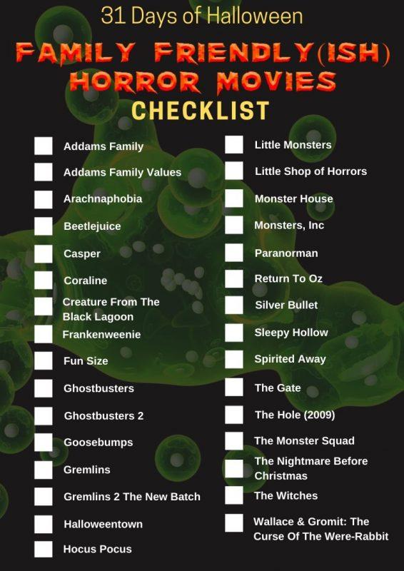 31 Days of Halloween - Family Friendly (ish) Horror Movies Checklist