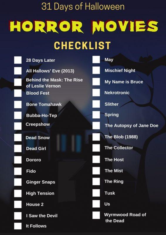 31 Days of Halloween - Horror Movies Checklist