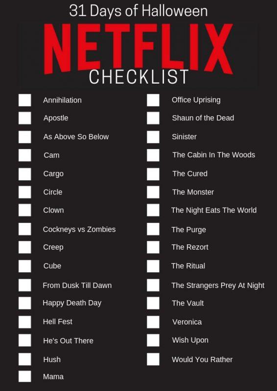 31 Days of Halloween - Netflix Movie Checklist