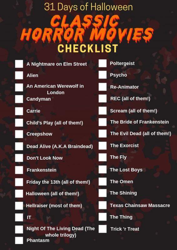 31 Days of Halloween - Classic Horror Movies Checklist