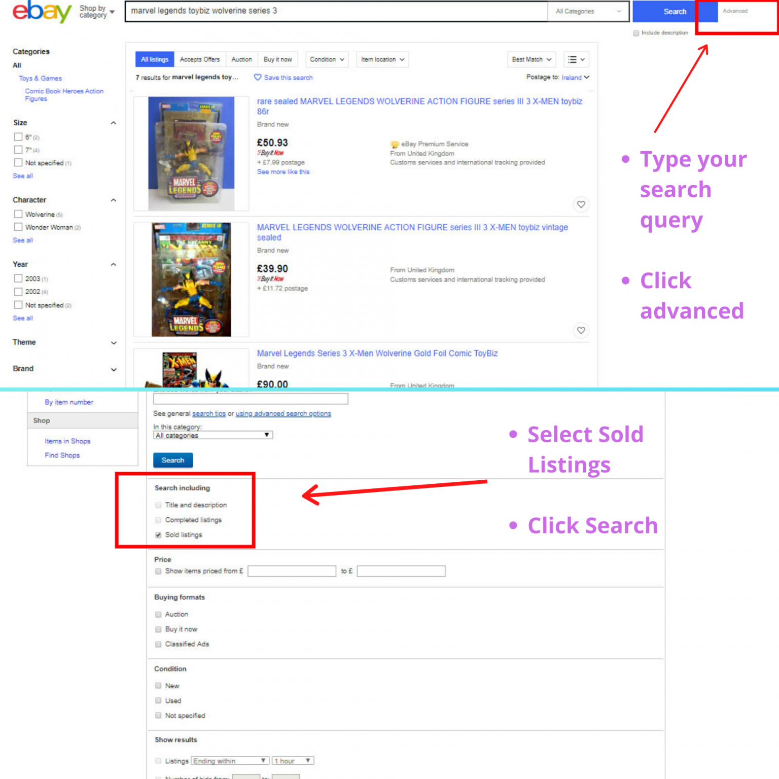 How To Find Ebay Sold Prices Uncanny Collectibles