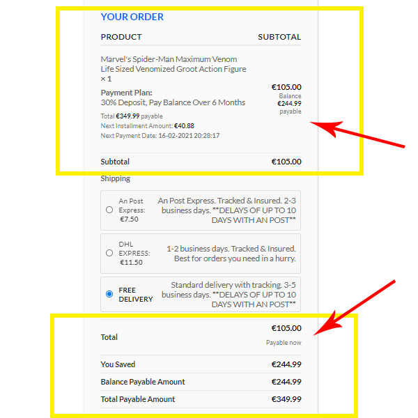 payment plan product-checkout-page-view-